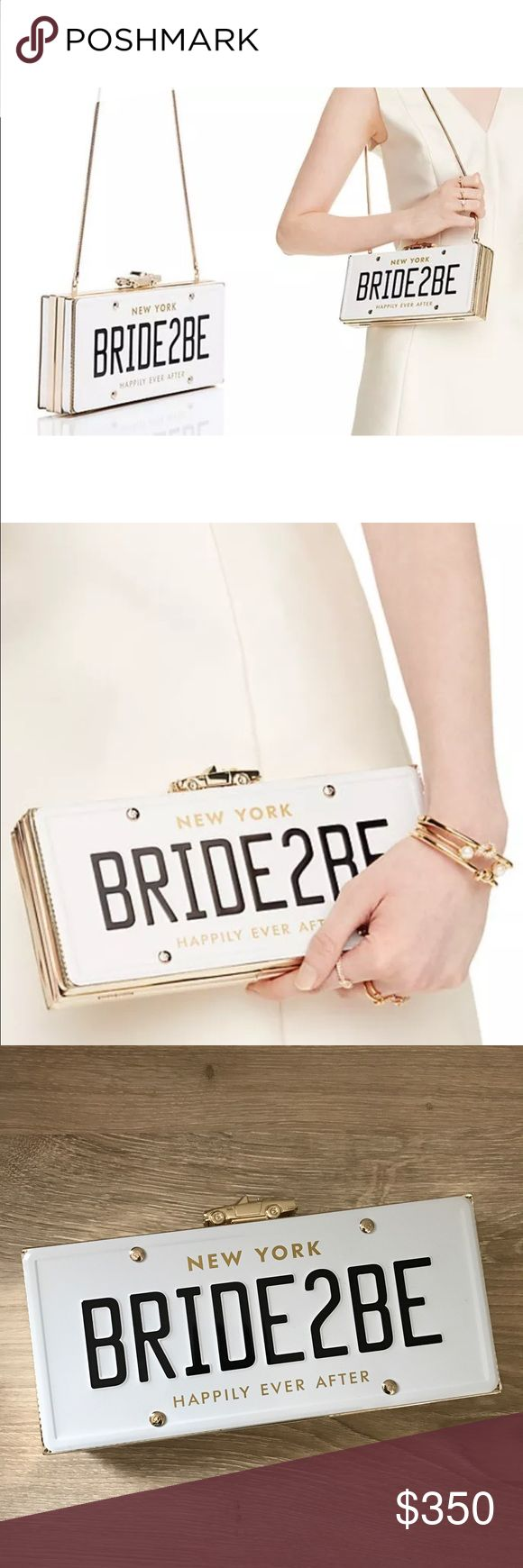 "NWT BRIDE2BE Kate Spade Clutch From the Wedding Belles collection by kate spade new york, the BRIDE2BE clutch features:  -metallic TPU  -clasp closure  -zip compartment and credit card slots inside  -hidden chain strap  approx. 4.5(W) x 10(W) x 1.5(D)""; 15"" strap drop  MSRP $398  PERFECT for the rehearsal dinner, bridal shower or bachelorette party! kate spade Bags Clutches & Wristlets"
