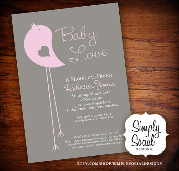 Pink and Grey Little Bird Baby Shower Invitation