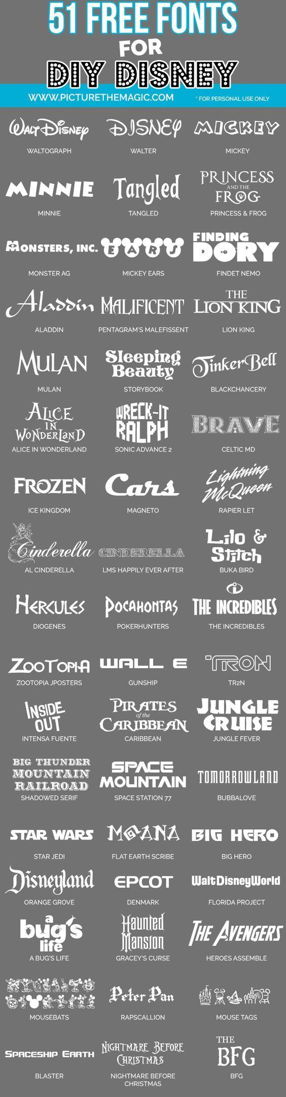 Wow! 58 free Disney fonts from Disney movies, Disney parks, etc.                                                                                                                                                                                 More