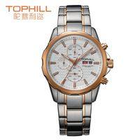 2015 Tophill moda japón Movt reloj de cuarzo hombre multifunción Chrono deportes taquímetro relojes caja de acero inoxidable reloj de hombre