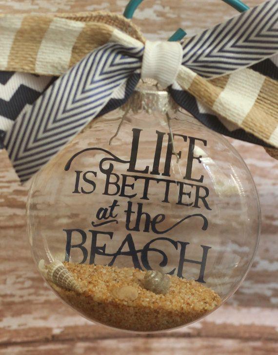 Beach Ornament Custom Made Beach Theme Christmas Ornament Tree Decoration Handmade Life is Better at the Beach Ocean Sea Seashell Christmas