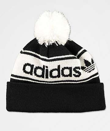 adidas Originals Black   White Pom Beanie  8ce288a48a4