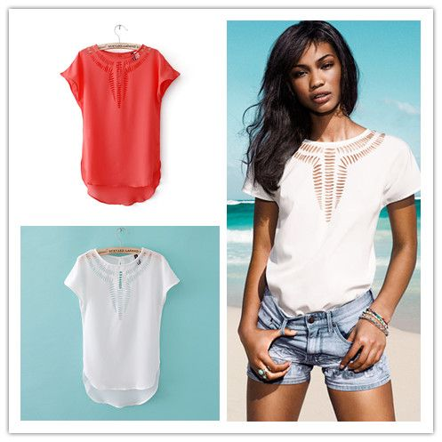 woman blouses plaid white hollow out front short sleeve round neck top women chiffon shirts batwing FYY106