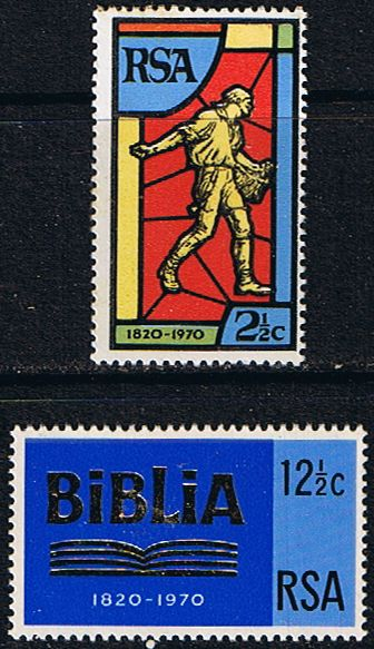 South Africa 1970 Bible Society Set Fine Mint                    SG 301 2 Scott 361 2          Condition Fine MNH    Only one post charge applied on