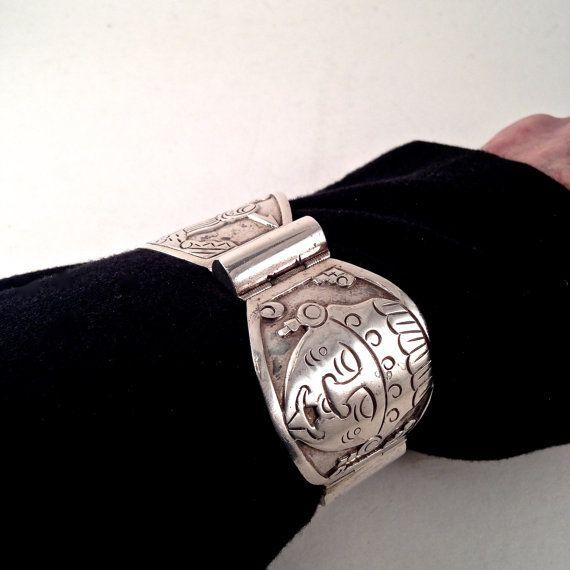 Mexican Sterling Silver Bracelet in Aztek Design