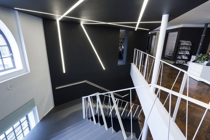 MICROBLADE profile from Atelier Sedap by Optelma. Recessed plaster-in linear lighting profile in custom arrangement. #Lighting #Lighting Design #Architecture #Interiors #Interiordesign #LED