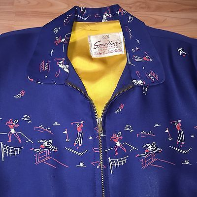 Vintage 1950's Sports Print Gabardine Rockabilly Jacket RARE Pattern M | eBay