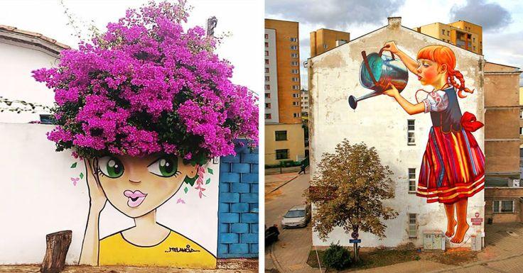 15 lenyűgöző street art alkotás, amelyben a természet is közrejátszik