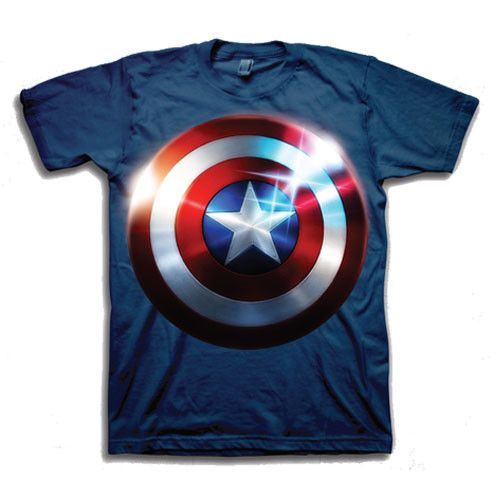 Now you can get Cap's shield on a shirt! Everyone loves and recognizes this symbol of Captain America thanks to last summer's movie and this summer blockbuster movie The Avengers. Wear this men's shir