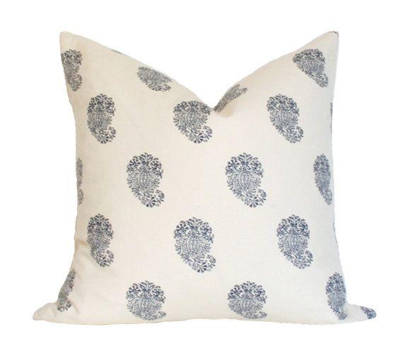 Bangalore Paisley Navy - Quadrille China Seas - Designer Pillow Cover (Single-Sided)