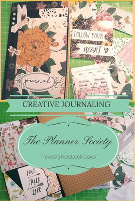 Travelers Notebook cover that I made from the stunning April Kit from The Planner Society - Plan With me, creative journaling -  Kerrymay._.Makes