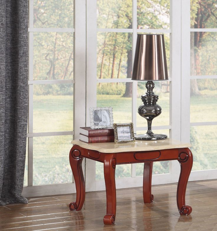 Bella Traditional Cherry Beige Genuine Marble Top End Table