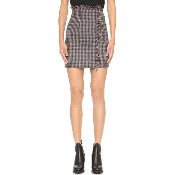 Acne Studios Punta Shet Check Skirt ($480) ❤ liked on Polyvore featuring skirts, checkered skirt, tweed skirt, checkerboard skirt, checked skirt and red wrap skirt