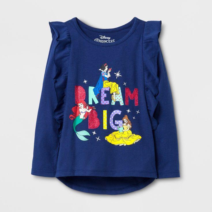 Toddler Girls' Disney Princess Long Sleeve T-Shirt - Navy 5T, Blue