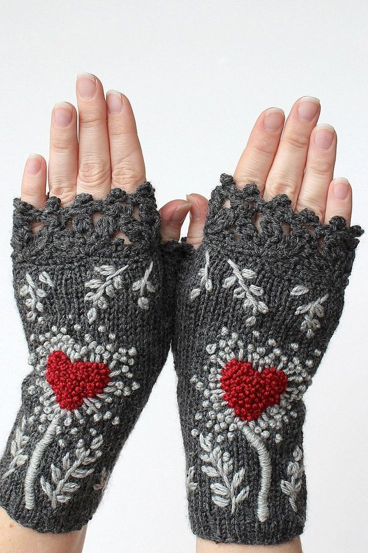 Knitting fingerless gloves in the round - Hand Knitted Fingerless Gloves Heart Dark Grey Red Gray Gift Ideas Size M M L
