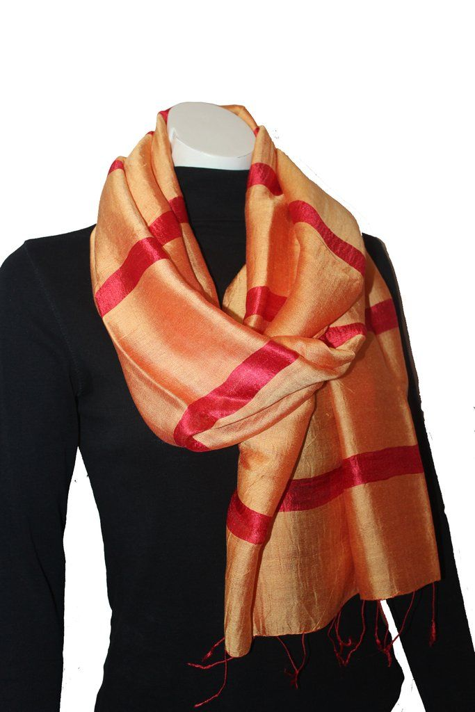 Silk Luxury Scarf orange-red