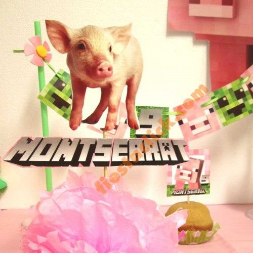 Minecraft pigs cerditos, centro de mesa