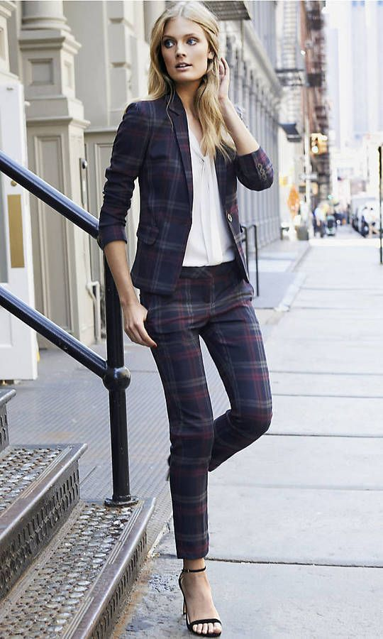 Berry Plaid One Button Jacket