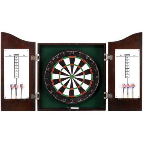 Wooden Dart Board Game Set Target  Cabinet DartboardDarts Wall Mount Cricket #WoodenDartBoard