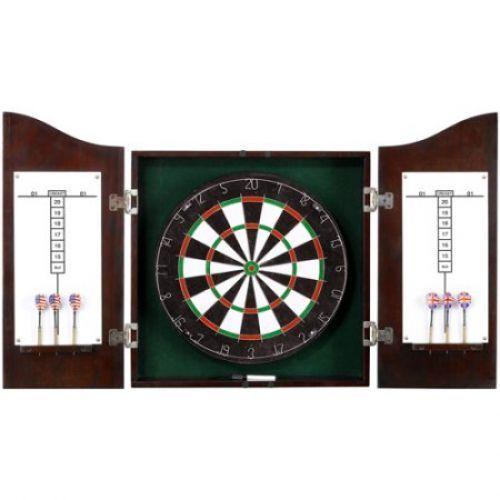 Wooden Dart Board Game Set Target  Cabinet DartboardDarts Wall Mount Cricket #WoodenDartBoard