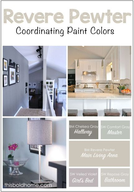 Benjamin Moore 'Revere Pewter' and coordinating paint colors | thisboldhome