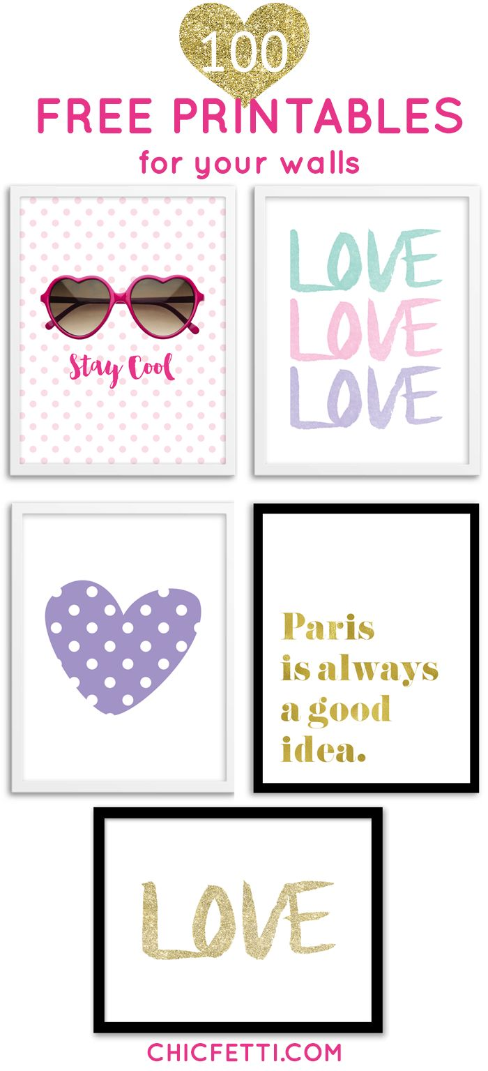 100 reproducciones imprimibles para su hogar - 100 free printable art prints for your home from @chicfetti