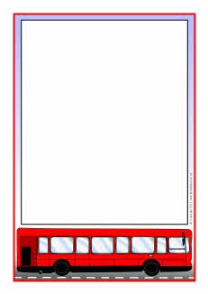 The wheels on the bus A4 page borders (SB4968) - SparkleBox