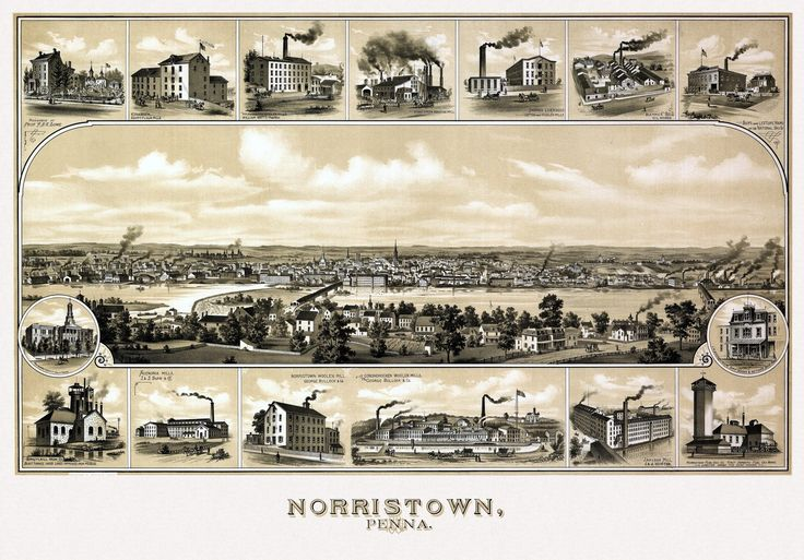 Old Map of Norristown Pennsylvania 1881 Montgomery County Poster