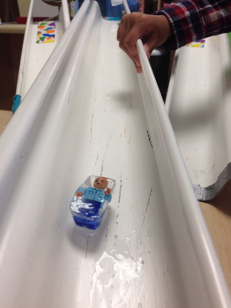 We made an ice luge with a gutter during our Olympic unit in preschool