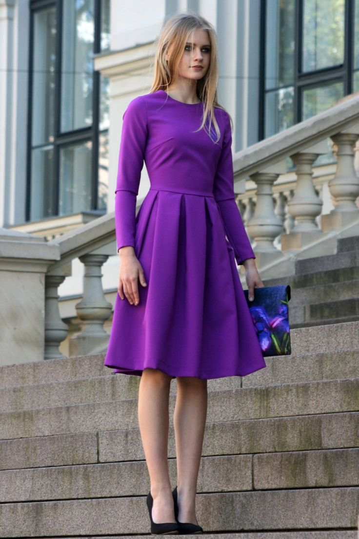 Purple dress with pleats and side pockets (com imagens) | Looks vestidos, Vestidos, Moda feminina
