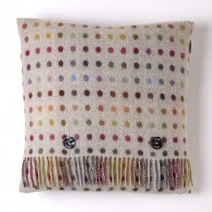 Lambswool Cushion Multispot Beige Multi #wool #polkadots #luxury #home