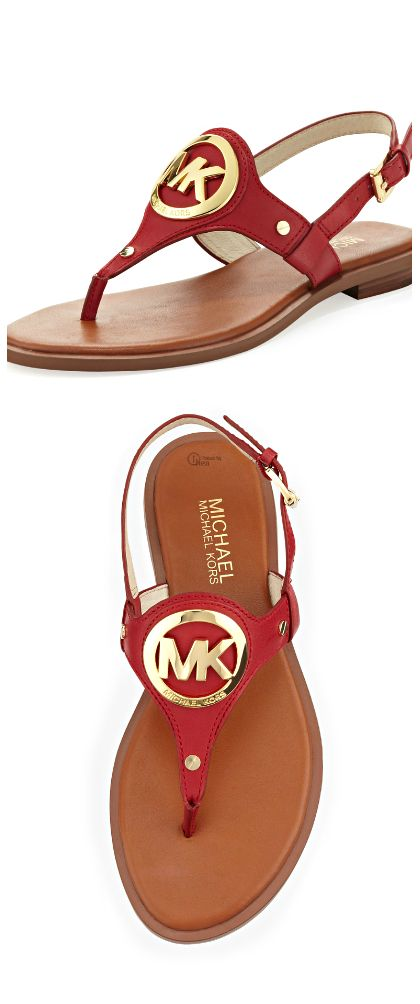 Michael Kors ● Red Aubrey Logo Sandal  Christmas in July: FREE shipping in US through August 1, 2016 silk scarf, soft, silky, each one is original, one of a kind, truly a work of art, hand dyed, each stroke strategically placed, get yours today! etsy.com/