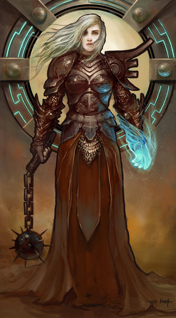 A Cleric by yigitkoroglu female flail magic | NOT OUR ART - Please click artwork for source | WRITING INSPIRATION for Dungeons and Dragons DND Pathfinder PFRPG Warhammer 40k Star Wars Shadowrun Call of Cthulhu and other d20 roleplaying fantasy science fiction scifi horror location equipment monster character game design | Create your own RPG Books w/ www.rpgbard.com