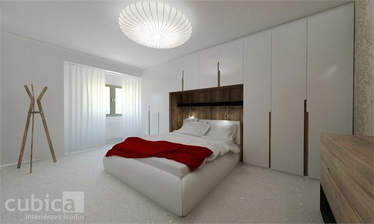 Bed room interior design - Bed room interior design in white glossy paint and walnut - Bratislava, Словакия - 2012