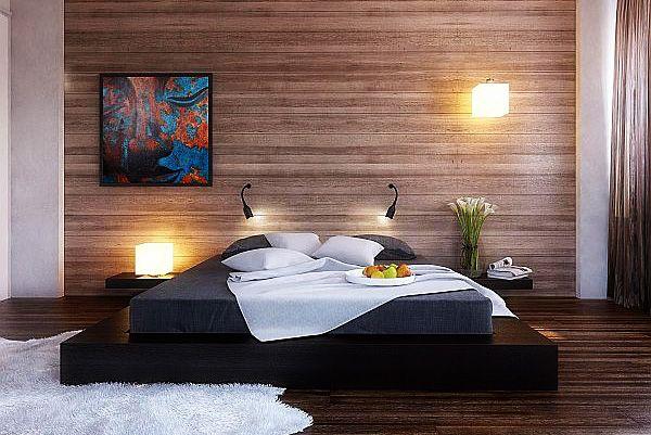 Black platform queen size bedroom furniture sets with wood clad bedroom wall