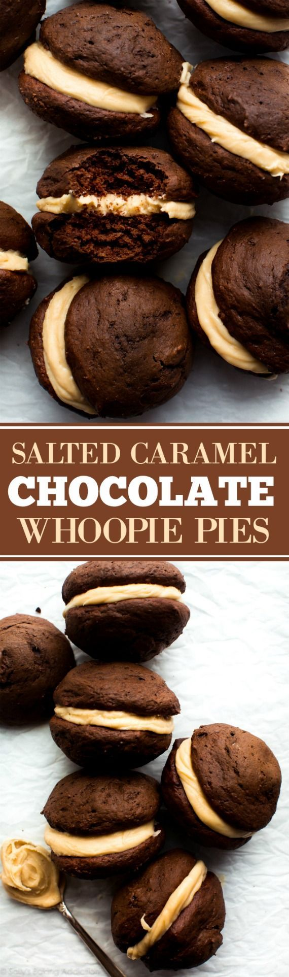 Soft, moist, and super EASY chocolate whoopie pies filled with salted caramel frosting! Dessert cookie recipe on sallysbakingaddiction.com