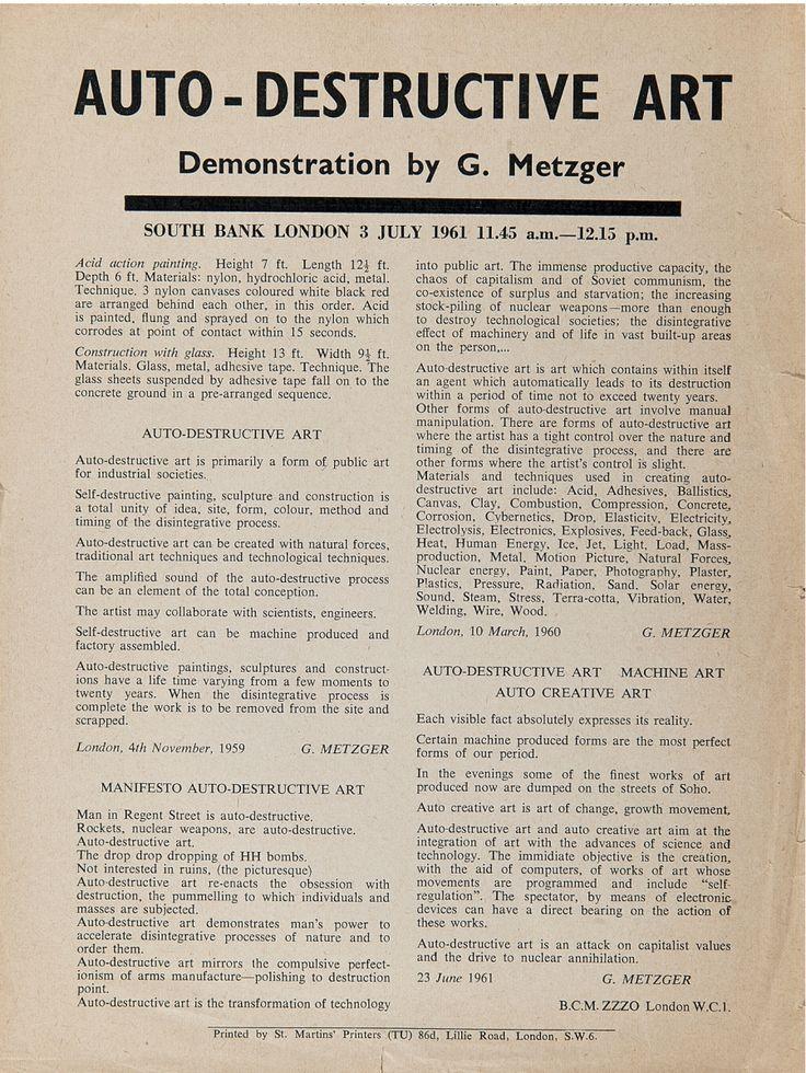 Gustav Metzger Auto-Destructive Art