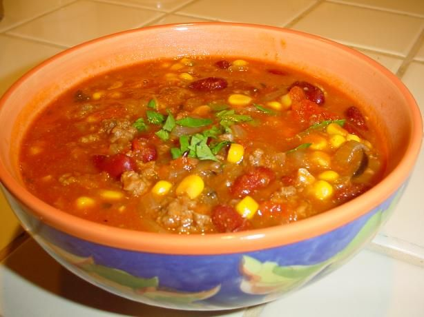 Mom s Taco Soup from Food.com:   California chili powder, cumin and bouillon in place of the spice & dressing mixes the newer recipes use. Serve with sliced avocados.  Family Note: This is Mom-mom's recipe, except I increased the spices and added olives and cilantro.