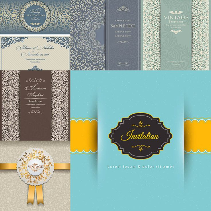 Vintage wedding invitation with beautiful pattern and