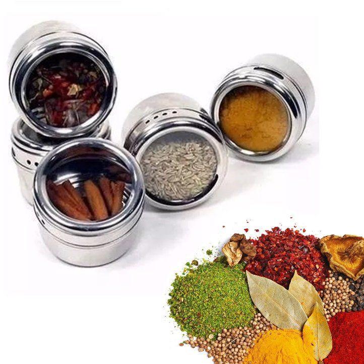 Porta Condimento Tempero (12pç) Magnético Em Inox Com Imã Para Geladeira - Adrishop - Sua Loja de Variedades