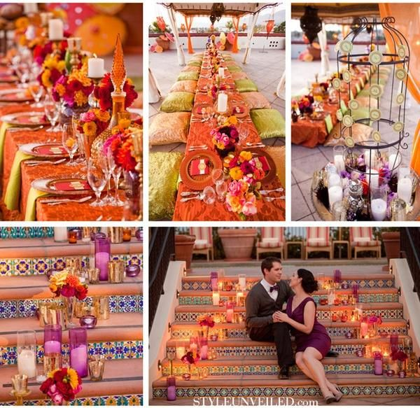 """A Moroccan wedding theme, with a modern twist. Read our article """"Get Inspired by Morocco for Your Wedding"""" for more ideas."""