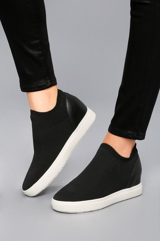 ddc261a2b7f Sly Black Knit Sneakers in 2019 | shoes | Knit sneakers, Steve ...