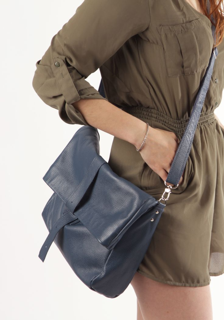 "Large Handmade Bag ""Robin Blue"", Blue Crossody Handbag, Genuine Leather Cross Body Purse, Designer Crossbody, Blue Leather Bag"