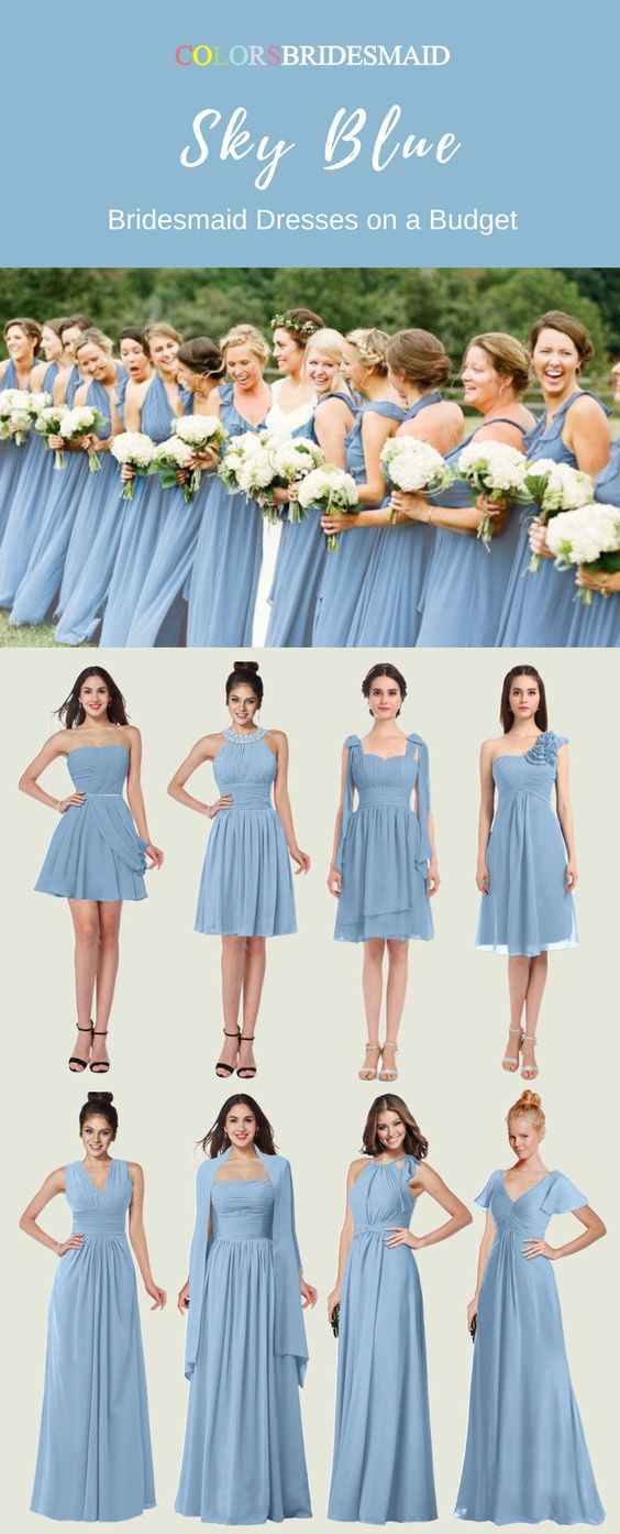 Inexpensive Sky Blue Bridesmaid Dresses In Short And Long Styles Sky Blue Bridesmaid Dresses Blue Bridesmaid Dresses Short Winter Bridesmaid Dresses