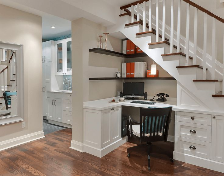 Office Space Underneath The Stairs - Use the space under the stairs to create a home office