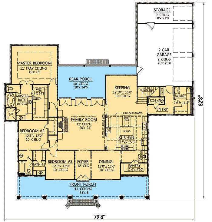 Acadian style house plans with bonus room for Acadian home designs