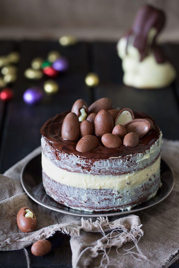 Osterkuchen mit weißer Schokolade