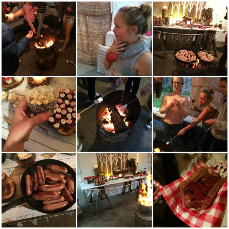 Woodland Campfire Party - sizzling sausages and toasting marshmallows over the fire