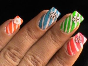 Easy Candy Cane Nails - Flowers and candies ! Cute nail polish Nail Art Designs Ideas DIY Easy Kids nail art gallery