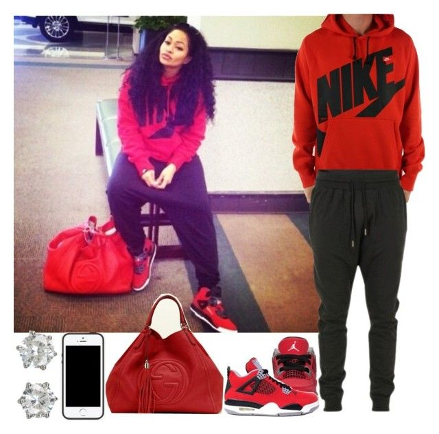 """""""Nike Swag"""" by blasianmami16 ❤ liked on Polyvore featuring mode, NIKE, Blood Brother, Freaker, Gucci en Juicy Couture"""